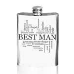Best Man Words Pewter Flask 6 Ounces