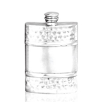 Hammered Satin Band Pewter Flask 4 Ounces