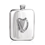 Harp Stamped Pewter Flask 6 Ounces