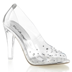 Clear Peep Toe Pumps With Rhinestone Vamps