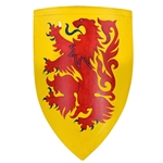 Wooden Medieval Heater Shield - Red Lion Rampant