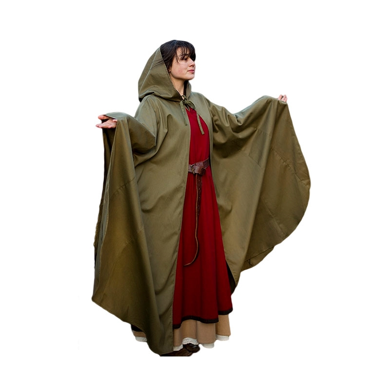 Sca Leather Armor - Medieval Hooded Cloak - Green Twill 6dd7bc486