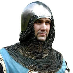 Sca Leather Armor - Medieval Bascinet Helmet With Chain Mail