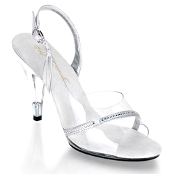 Clear And Silver Slingback Sandals