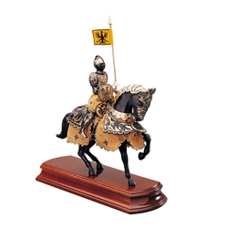 Miniature Black Knight on Horseback